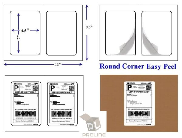 2000 Quality Round Corner Shipping Labels 2 Per Sheet 7