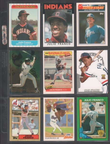 JULIO FRANCO ~ Lot of (9) Different Baseball Cards w Display Sheet (L374)
