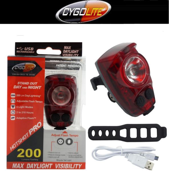 NEW Brightest Cygolite Hotshot PRO 200 Rear Bike Tail Light USB Rechrg upgrd 150 $34.90