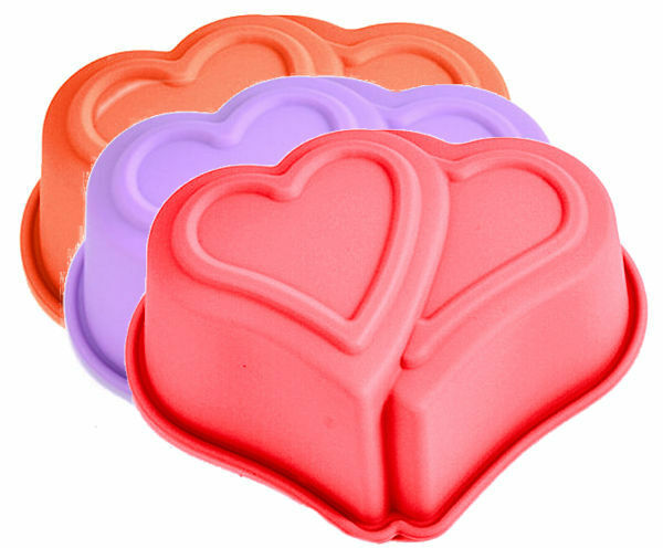Double Heart Singles Cupcake Silicone Mold for Fondant Gum Paste Chocolate