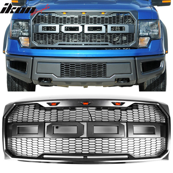 Fits 09-14 Ford F150 New Raptor Style Front Bumper Grille Hood Mesh Package ABS