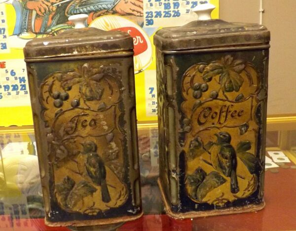 BEAUTIFUL C. 1880'S COFFEE AND TEA TINS OR CANISTERS PAINTED WITH BIRDS ~RARE~