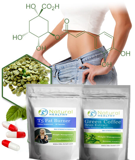 1000MG Green Coffee Bean + T5 Fat Burner High Strength weight loss diet pills