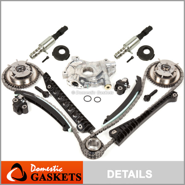 04-08 Ford F150 Lincoln 5.4L 3V Timing Chain Oil Pump Kit+Cam Phasers+Solenoid