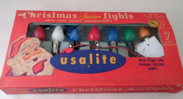 1950s USAlite Christmas Indoor Large Bulb Clip On 7 Colorful Light String RETRO $22.95
