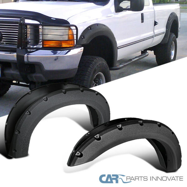 99-07 Ford F250 F350 Super Duty Pocket Rivet Bolt-On Rough Texture Fender Flares