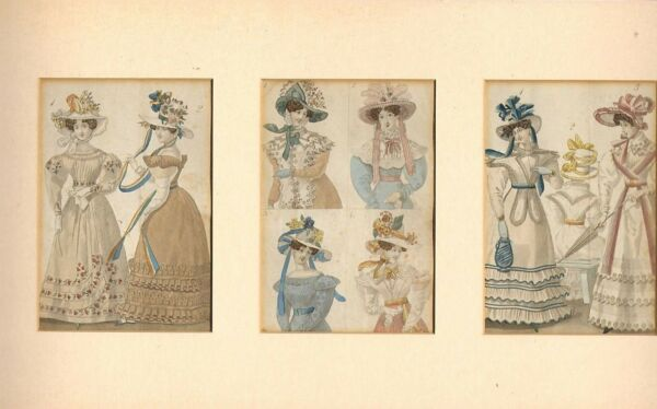 1825 three mounted parisian costumes very colourful GBP 38.00