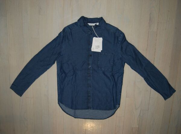 & Other Stories women's denim colored rayon long sleeve shirt $75 price tag NWT