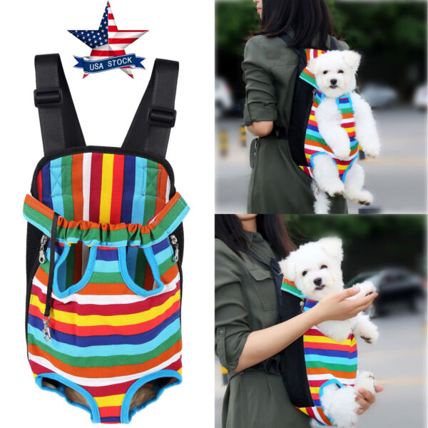 Small Pet Cat Puppy Dog Carrier Front Pack Hiking Backpack Head Legs Out Rainbow $12.34