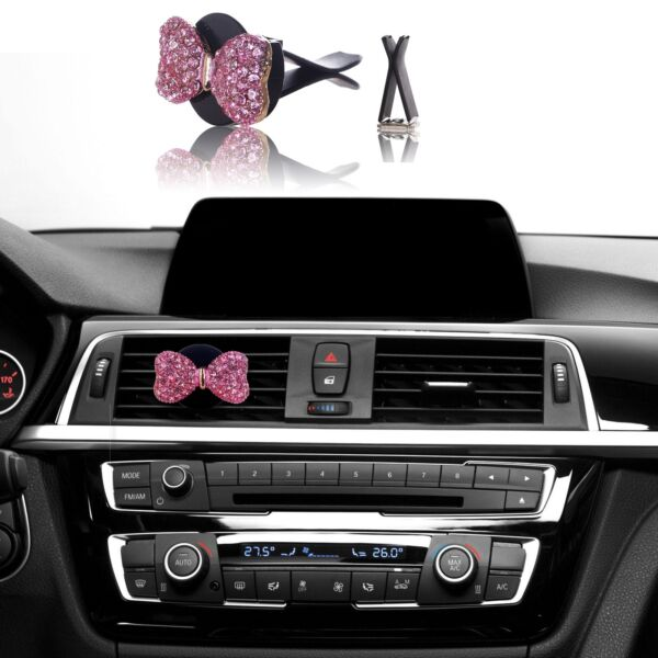 Bling Car Accessories Interior Decoration for Girls Women - Pink Crystal Bow