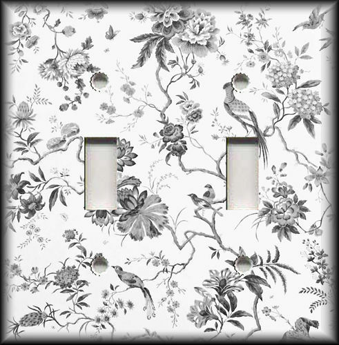 Metal Light Switch Plate Cover - Branches Floral Birds Toile Home Decor Grey