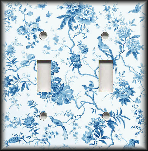 Metal Light Switch Plate Cover - Branches Floral Birds Toile Home Decor Blue