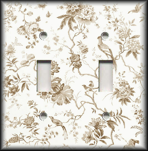 Metal Light Switch Plate Cover - Branches Floral Birds Toile Home Decor Brown