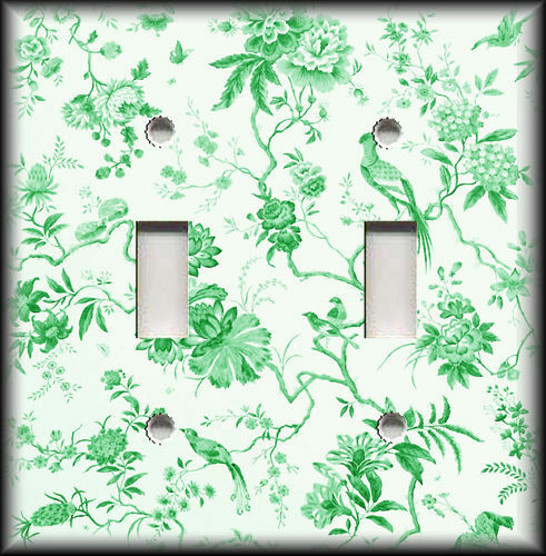 Metal Light Switch Plate Cover - Branches Floral Birds Toile Home Decor Green