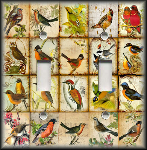 Metal Light Switch Plate Cover - Vintage Birds Patchwork Home Decor Wallplate