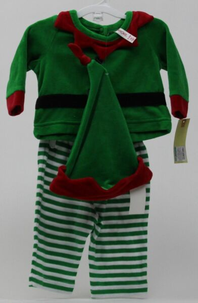 Christmas Cherokee Elf Velour Green & Red Outfit Shirt Pants Hat Size 0-3 months