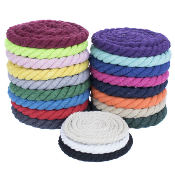 Soft Twisted Cotton Rope 1 2quot; Diameter in Solid Colors 10 25 50 and 100#x27;