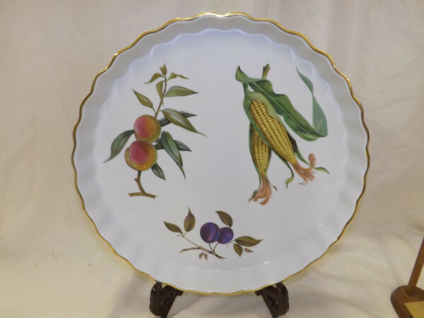 Royal Worcester Evesham Gold Fluted Quiche Tart Dish Pan Very Large 14