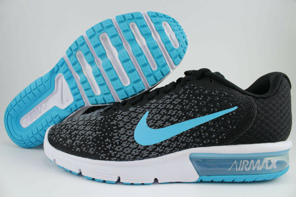 NIKE AIR MAX SEQUENT 2 BLACK/CHLORINE BLUE/GRAY RUNNING 1 90 LTD DEFY MEN SIZE