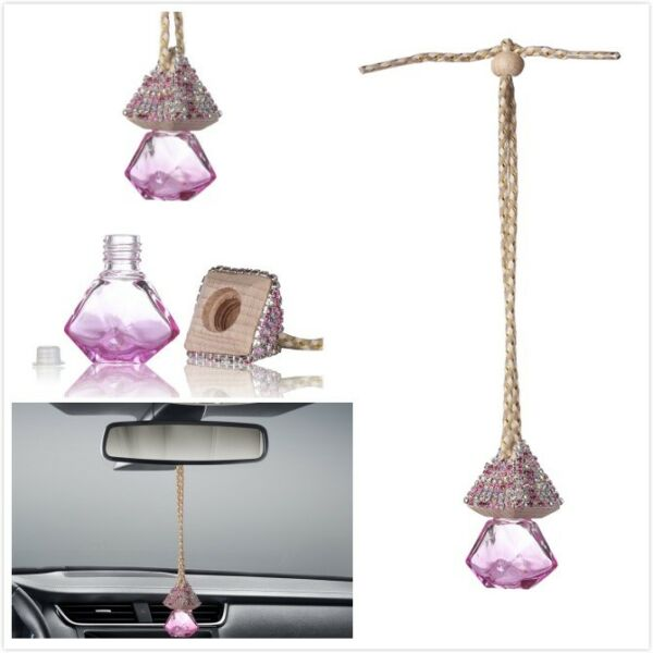 Pink Bling Car Accessories Mirror Hanging Diamond Crystal Bottle for Girls