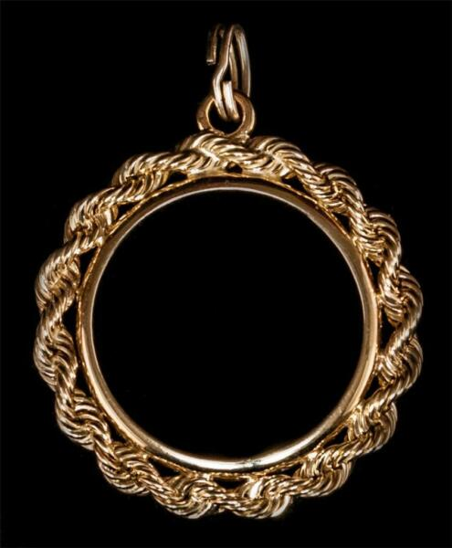 Canadian 110 oz Maple leaf Gold Coin 2.5mm Rope 14kt Gold Bezel with Bail