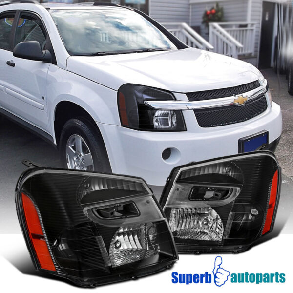 2005-2009 Chevy Equinox Replacement Headlight Black Head Lights Lamps Left+Right