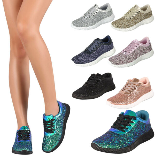 New Lace Up Glitter Women Fashion Sneaker Ankle Bootie Boot Trainer Running Shoe