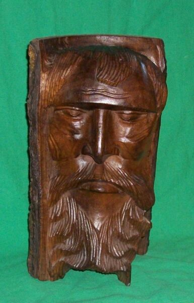 VTG BLACK FOREST HAND CARVED BUST OLD MAN OF WOODS WOODWOSE FIGURAL GAUL CARVING