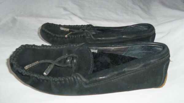 WOMENS UGGS 5133 BLACK DRIVERS BOW TIE LEATHER SHEARLING MOC SLIP ON SHOE 5