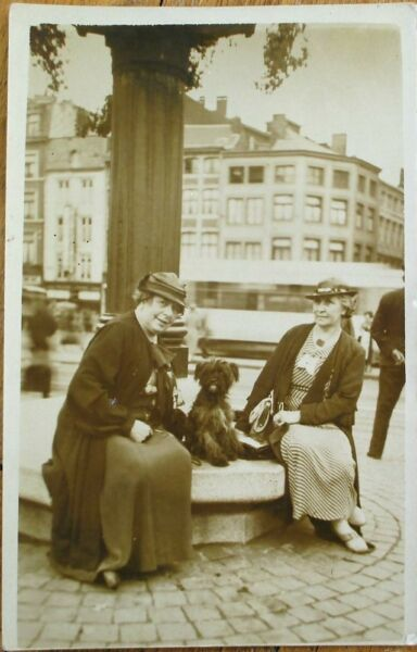 Dog amp; Two Old Women 1936 Realphoto Postcard: Liege Belgium $9.99
