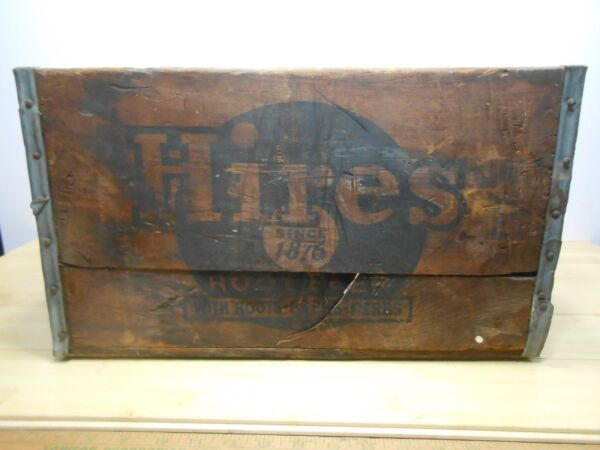 HIRES ROOT BEER SODA BOTTLE SIGN WOOD BOX CRATE 5-53 Roots Barks Herbs.