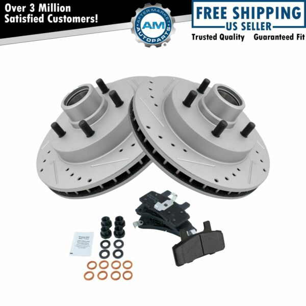 Front Metallic Brake Pad & Performance Drilled Slotted Coated Rotors for Chevy