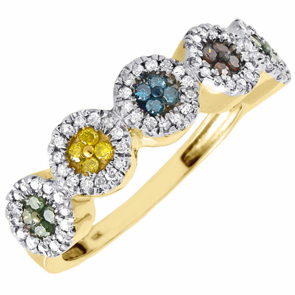 Diamond Multicolor Fashion Right Hand Band 10K Yellow Gold Cocktail Ring 0.40 Ct