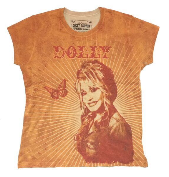 Dolly Parton Butterfly amp; Rays All Over Print Juniors T Shirt New Official Soft $20.99