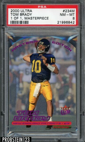 RARE 2000 Fleer Ultra Masterpiece #234M Tom Brady Patriots RC Rookie 11 PSA 8