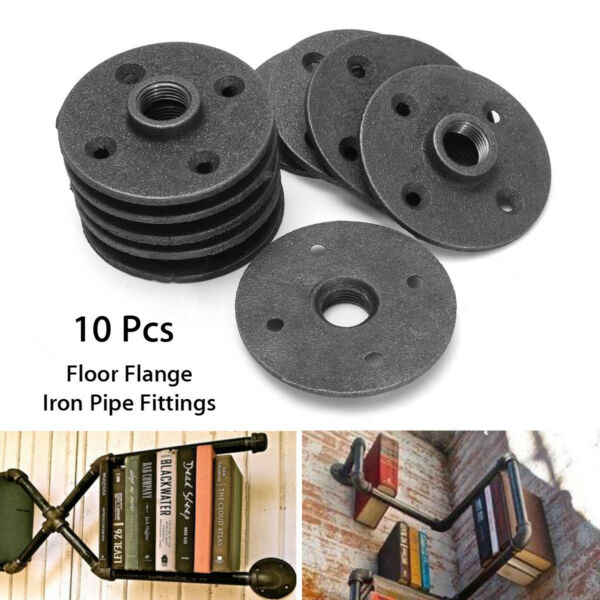 10Pcs Bigger 12'' Black Malleable Threaded Floor Flange Iron Pipe Wall Mount US