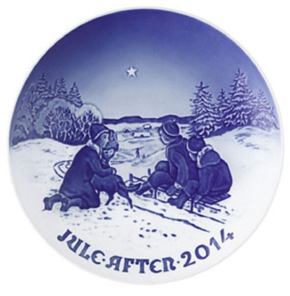 BING amp; GRONDAHL 2014 Christmas Plate Bamp;G NEW in BOX Sled Ride in the Snow $21.99