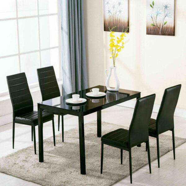 5 Piece Dining Table Set 4 Chairs Glass Metal Kitchen Room Breakfast Furniture $169.90