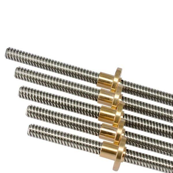 T8 Pitch 2mm Lead 4mm Trapezoidal Rod Stainless Lead Screw Brass Nut
