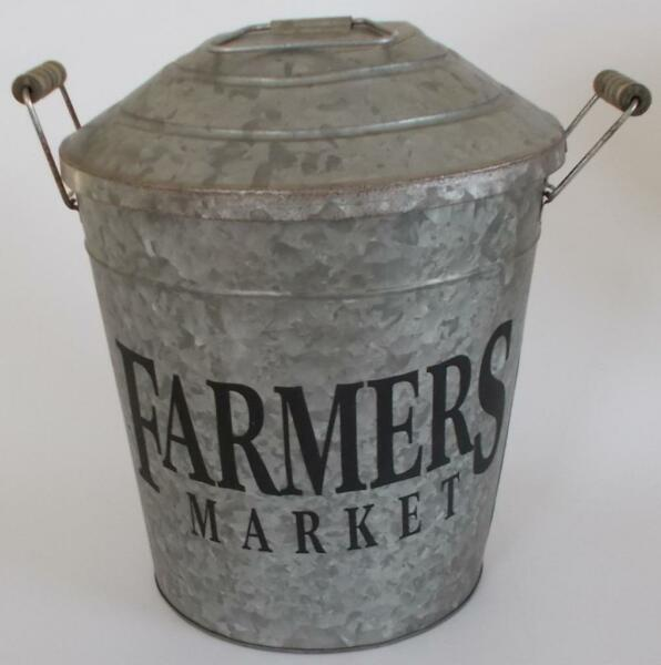 Vintage Metal Industrial Farmhouse Chic Pail Planter- Beverage Holder Decor Wood