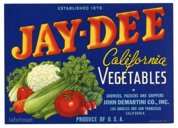JAY-DEE Brand Vintage Vegetables *AN ORIGINAL PRODUCE CRATE LABEL*