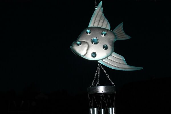 Angel Fish Solar Power LED Wind Chime Flashes At Night Chimes New $14.95