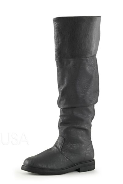 Black Mens John Snow Game of Thrones Medieval Knight LARP Long Costume Boots