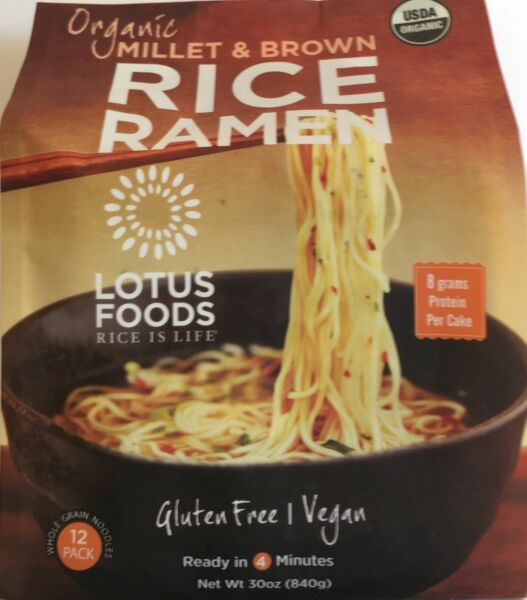 Lotus Foods Organic Millet & Brown Rice Ramen, 12 Pack,GLUTEN FREE,VEGAN