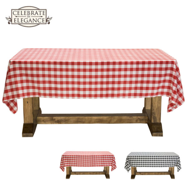 Black and White Checkered Tablecloth Polyester Picnic Table Cover Gingham Cloth