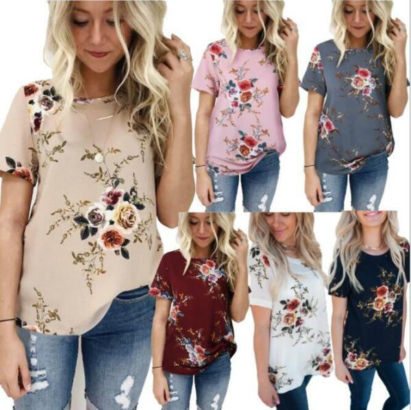 Summer Women Floral Tops Blouse Short Sleeve T-Shirt Clothes Plus Size 6-20 HOT