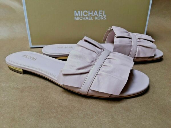 NEW Michael Kors Bella Slide Sandals Soft Pink Leather Blush