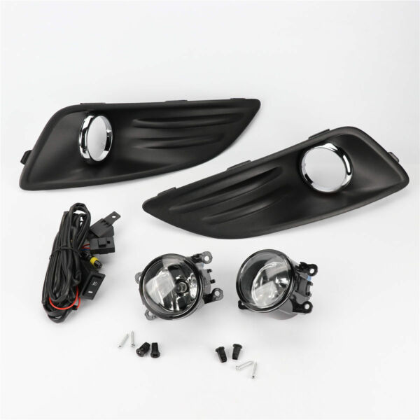 Clear Lens Fog Lights Lamps kit W/ Switch Cable Bezel for Ford Fiesta 14-18