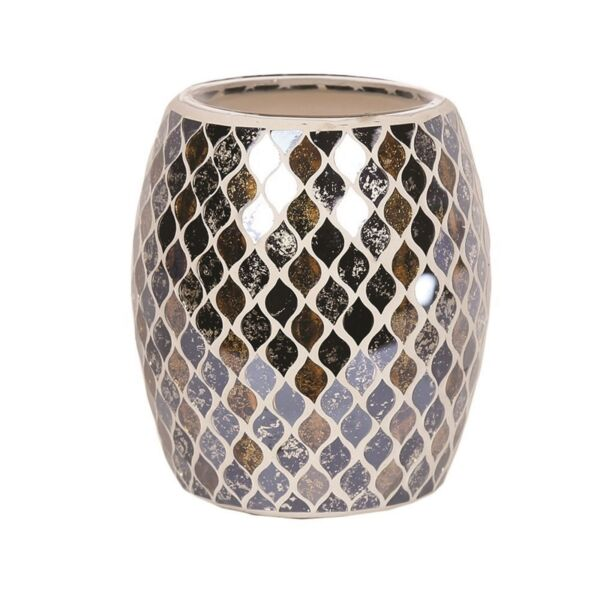Aroma Electric Wax Melt Burner Tart Warmer Black & Gold Teardrop Mosaic Design
