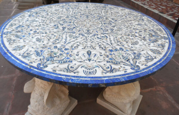 5'x5' Marble Dining Round Table Top Rare Mosaic Inlaid Living Room Decor H2396
